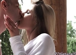 Stunning beauty fucks increased by deepthroats cock outdoors