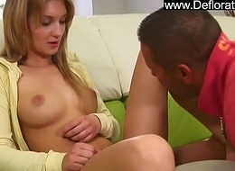 Horny shy young platinum-blonde