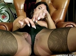 Brunette rips pantyhose plays toys pussy