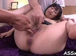 Examining feel one's way babe'_s anal tunnel