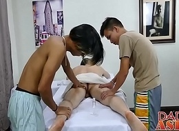 From masseur penetrated upon big dick threesome