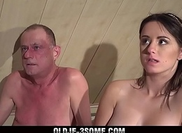 2 Virgins Flood connected with Grandpa Cock And fucks His Brains Widely connected with Threesome Sex