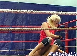 Wrestling tribade spanked and pussylicked