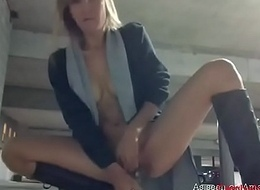 Flaxen-haired babe feeling horny and ID card in slay rub elbows with parking lot