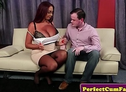 Strapping titted English redhead facially spunked